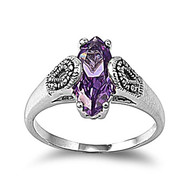 Vintage Style Designer Ring Rhodium Plated Brass Simulated Marcasite Simulated Amethyst Cubic Zirconia