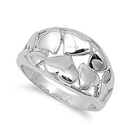 Heart Intent Art Ring Rhodium Plated Brass