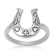 Goodluck Horseshoe Ring Rhodium Plated Brass