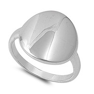 High Polished Round Disc Ring Rhodium Plated Brass