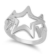 Fancy Orion Stars Ring Rhodium Plated Brass