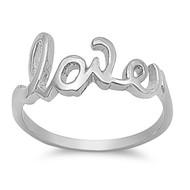 Love Ring In Script Rhodium Plated Brass