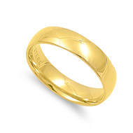 Classic Yellow Gold-Tone Plated Comfort Fit Wedding 5MM Band Ring Stainless Steel