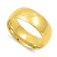 Classic Yellow Gold-Tone Plated Comfort Fit Wedding 8MM Band Ring Stainless Steel