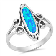Filigree Noveau Oval Blue Simulated Opal Stone Ring Sterling Silver