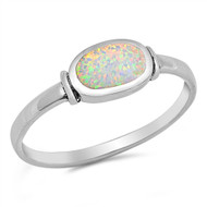 Sideways Oval Shape White Simulated Opal Solitaire Ring Sterling Silver