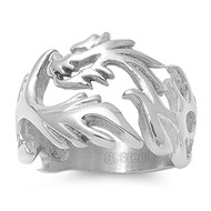 Dragon Fire Biker Ring Stainless Steel