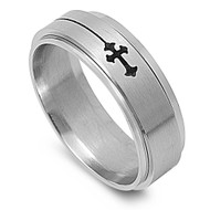 Inscribed Gothic Cross Spinner Ring Stainless Steel