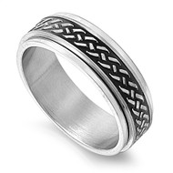 Black Weave Row Spinner Ring Stainless Steel