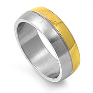 Dual Row Two Toned Ring Stainless Steel