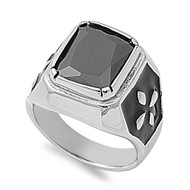 Faceted Rectangular Black Cubic Zirconia Ring Stainless Steel