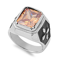 Faceted Rectangular Champagne Cubic Zirconia Ring Stainless Steel