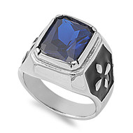 Faceted Rectangular Simulated Sapphire Cubic Zirconia Ring Stainless Steel