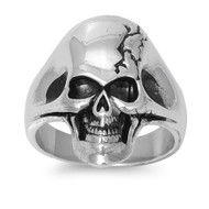 Cracked Biker Skull Ring Stainless Steel