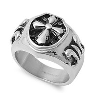 Cleric Cross Biker Skull Ring Stainless Steel
