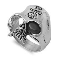 Black Magic Biker Skull Ring Stainless Steel