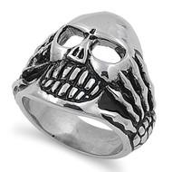 Hands of War Biker Skull Ring Stainless Steel