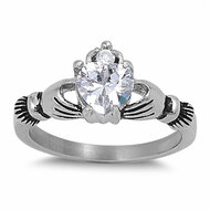 Heart-Shape Cubic Zirconia Claddagh 10MM Ring Stainless Steel