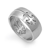 Deatchable Gothic Cross Ring Stainless Steel