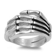 Hand of Death Cult Biker Skull Ring Stainless Steel