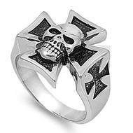 Iron Cross Skull Biker Ring Stainless Steel