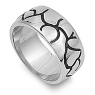 Inscribed Veins Biker Ring Stainless Steel