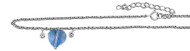 """Chain Anklet Lavender Simulated Crystal Heart Charm 10"""" Length Adjustable"""