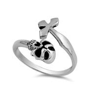 Skull And Cross Designer Ring Sterling Silver 925