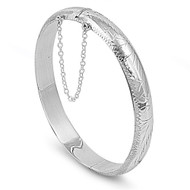 Oval Shape Engraving Design 9MM Bangle Bracelet with Safety Chain Sterling Silver 55 X 60MM