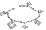 "7"" Cross Links Charm Designer Bracelet In Sterling Silver"