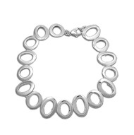 "Circle Pattern Designer 8"" Charm Bracelet In Sterling Silver"