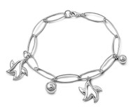 "Oblong Links Star & Sphere 7"" Charm Bracelet Sterling Silver"