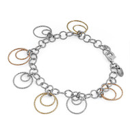 "Double Loop Tri Color 8"" Charm Bracelet Sterling Silver"