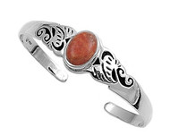 Simulated Coral Fashion Bangle Sterling Silver 16MM
