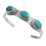 3 Simulated Turquoise Stones Fashion Bangle Sterling Silver 13MM