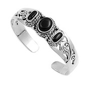 Sterling Silver Black Simulated Onyx Filigree Rope Designer Bangle Jewelry