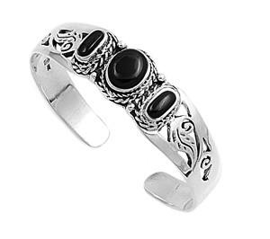Sterling Silver Black Simulated Onyx Filigree Rope Designer Bangle Jewelry