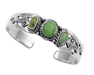 Sterling Silver Simulated Turquoise Filifree Rope Designer Bangle Jewelry
