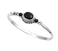 Sterling Silver Simulated Onyx Rope Bazel Bangle 14MM
