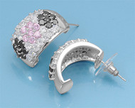 Black, Pink And Clear Cubic Zirconia Pave Shaping Flower Earrings Sterling Silver 22MM
