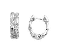 Cubic Zirconia Alternate Design Earrings Sterling Silver 18MM