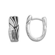 Cubic Zirconia Black & Silver Swirl Earrings Sterling Silver 18MM