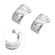 Baguette Cubic Zirconia Fashion Earrings Sterling Silver 22MM