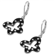 Cubic Zirconia Black Butterfly Earrings Sterling Silver 22MM