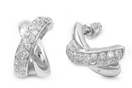 "Cubic Zirconia ""X"" Designer Earrings Sterling Silver 20MM"