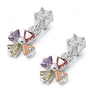 Iron Cross Dangle Multicolor Cubic Zirconia Earrings Sterling Silver