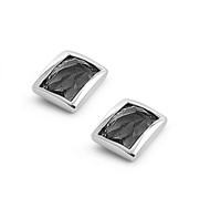 Rectangular Stud Bezel Black Cubic Zirconia Earrings Sterling Silver