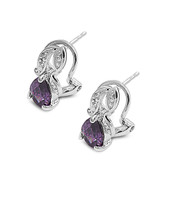 Abstract Teardrop Clip Simulated Amethyst Cubic Zirconia Earrings Sterling Silver