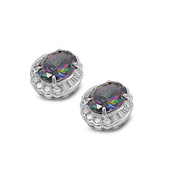 Halo Oval Rainbow Simulated Topaz Cubic Zirconia Earrings Sterling Silver