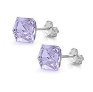 Cube Simulated Crystal Stud Earrings Sterling Silver Lavender